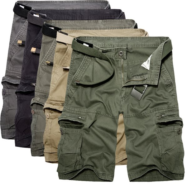 2019 Mens Military Cargo Summer Army Green Cotton Men Loose Multi-pocket Shorts Homme Casual Bermuda Trousers 40 C19041901