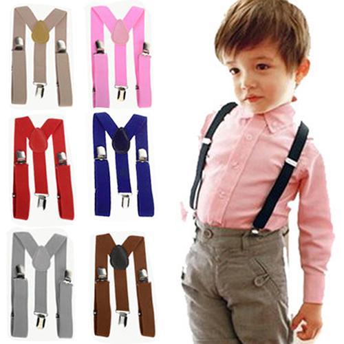 Crianças Ajustável Clip-On Suspensórios Meninos Meninas Y-Back Suspender Criança Elastic Arnês Clipe sólidos Suspensórios bebê Elasti Suspensórios GGA2282