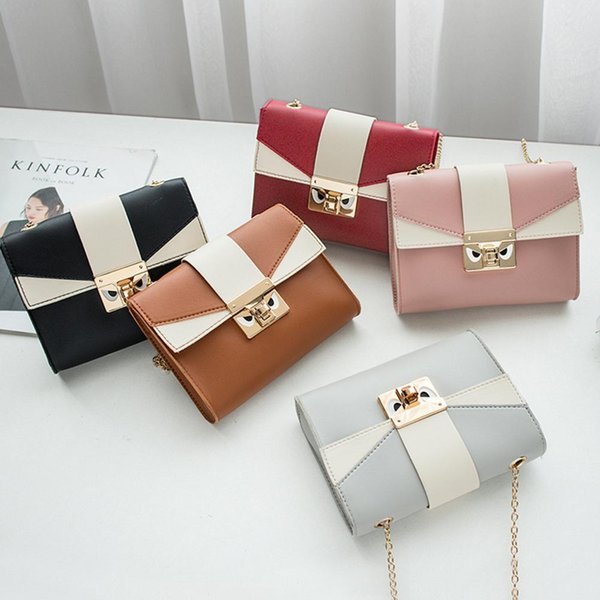 Women Fashion Satchel Simple Solid Color Chain Square Pack with Lock PU Leather Messenger Bags Solid Clutch Zipper Crossbody bag