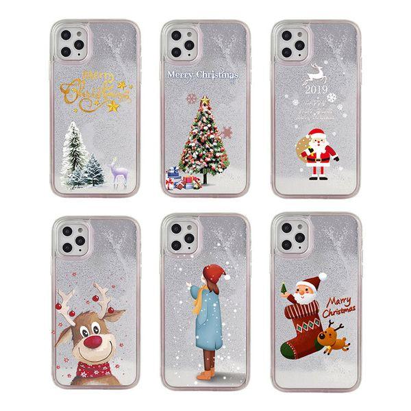 Cartoon Père Noël Elk téléphone cas pour l'iPhone 11Pro Max XS Max Noël Quicksand giltter pour iPhone 11 XR 8 7 6 6S plus