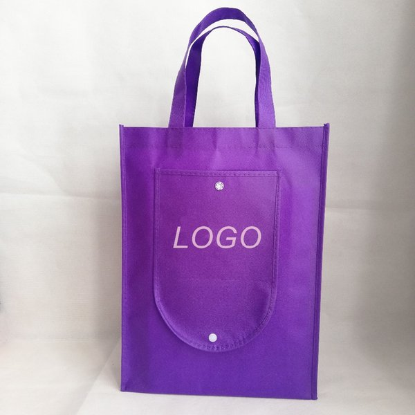 1000pcs/lot Reusable Non Woven Shopping Tote Bags Foldable Grocery Custom Logo Bags for Trade Show and Market Promotional Using