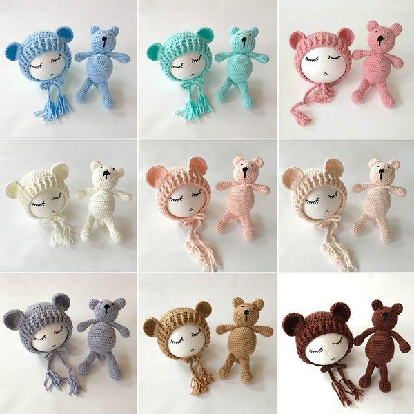 Bebé recién nacido Accesorios de Foto Accesorios Oso Sombrero + Muñeca 2 unids conjuntos bebé Bebe Boy Girl Toy Bonnet Handmade Q190521