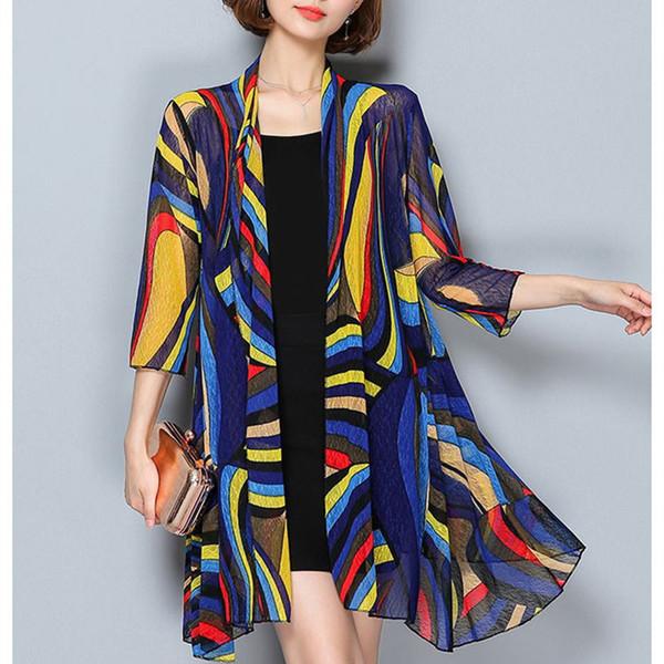 Kimono Hırka Moda Kimono Mujer 2018 Verano Rahat Gevşek Orta Uzun Plaj Hırka Kapak Artı Boyutu Kimono Feminino Y19042902