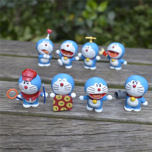 8 pcs/set Cartoon Anime Cute Mini Doraemon PVC Action Figure Collectible Model Toys For Dolls Childrens birthday Christmas Gifts