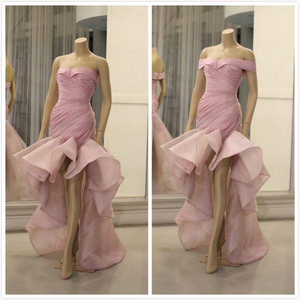 Aso Ebi 2019 Arabisch Stilvolle Rosa Abendkleider Schatz Meerjungfrau Organza Prom Kleider Günstige Formale Party Brautjungfern Festzug Kleider ZJ492