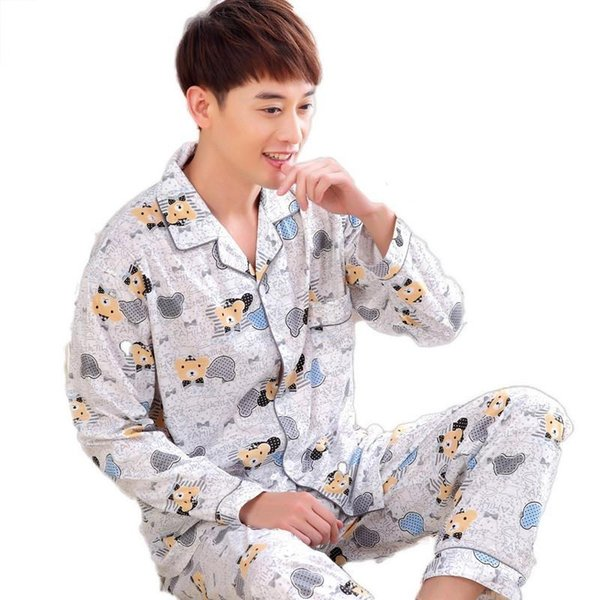 Thick Pyjama Sets In The Rooms Long Sleeved Cotton High Quality Mens Pajamas Plus Fertilizer To Increase Youth Home Pijamas