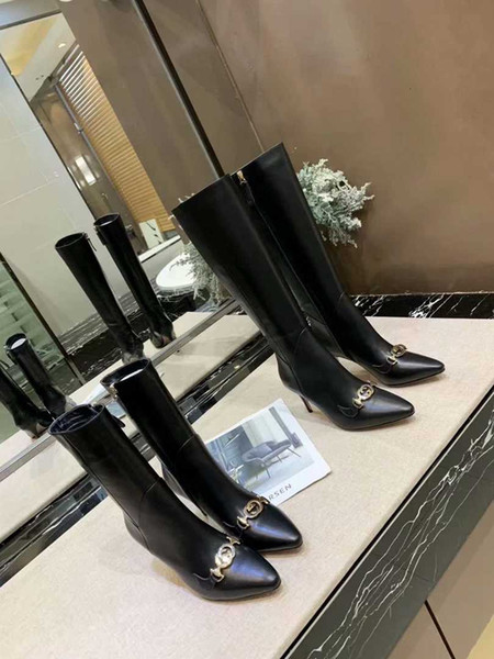 Black Leather Thigh-high Boots Women Cone High Heels Knight Boots Short/Long Dress Wedding Shoes With Box