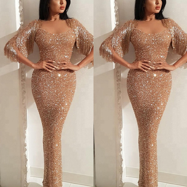 Sparkly Arabic Sequin Mermaid Prom Dresses Long 2019 Slim Full Length Tassel Fitted Shiny Evening Gowns Bling Good Quality Long Cocktail