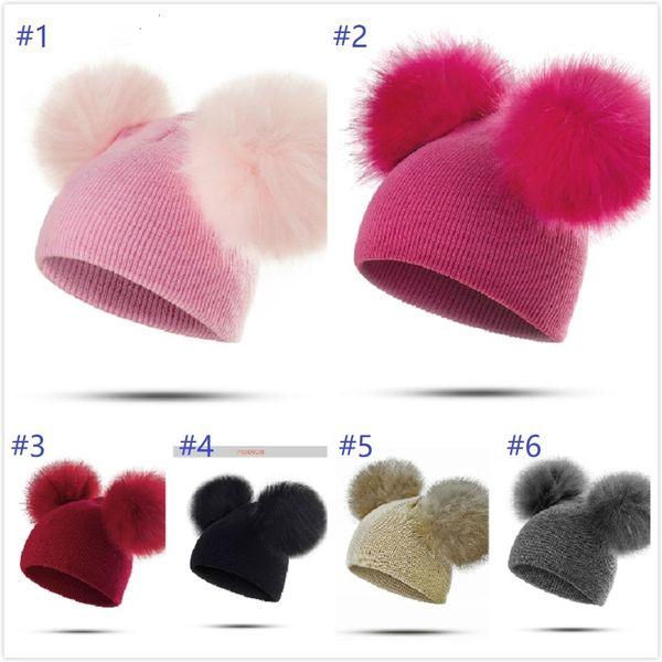 top popular 6 styles Children Hat Toddler Kids Baby Warm Winter Wool Hat Knit Beanie Fur Pom Pom Hat Baby Boys Girls Cap 1-3Y Drop Shipping 2020