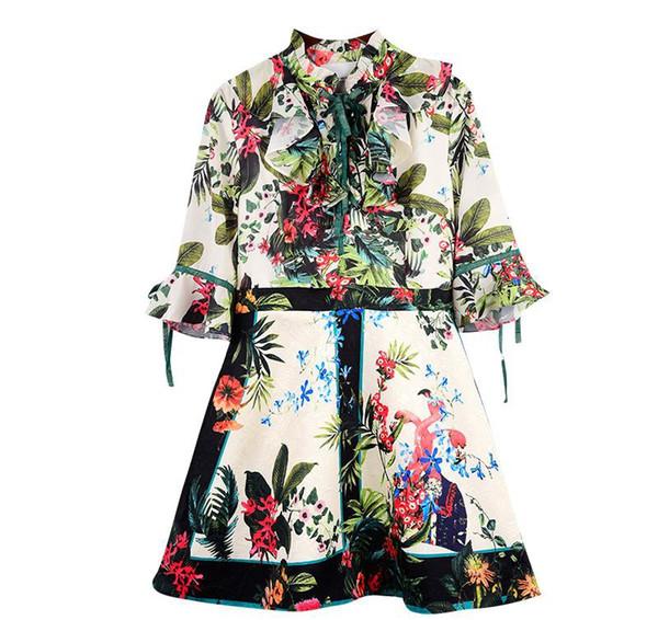 2018 designer frauen dress v kragen 3/4 flare long sleeves mini frauen dress mailand runway vestidos de festa drucken runway dress high end slash