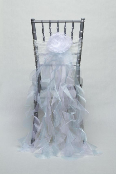 Custom Made Organza Ruffles Flower Wedding Chair Covers Beautiful Cheap Wedding Party Decorations Vintage Chair Sashes Supplies C05