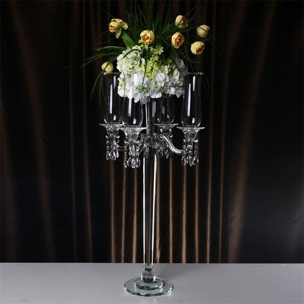 5 arms Windproof Candle Holders Crystal Wedding Table Centerpiece Candelabra Christmas Decorations for home center de mesa