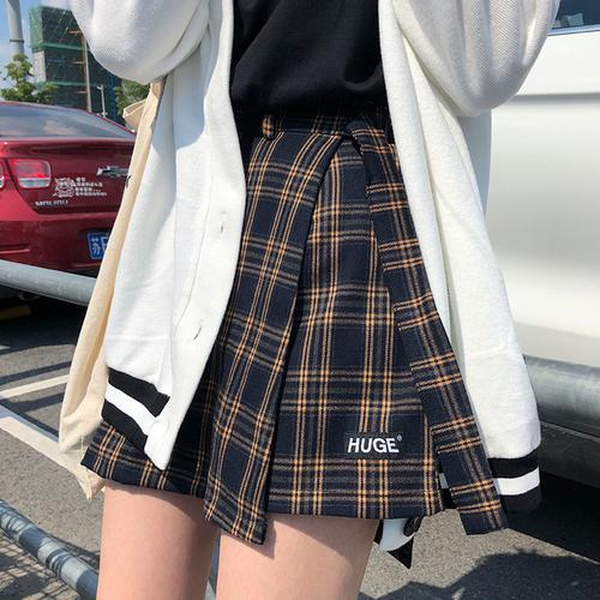 Casual Basic Fashion All Match Plaid Vintage Irregular High Waist College Wind 2018 New Fashion Female Women Mini Skirts J190626