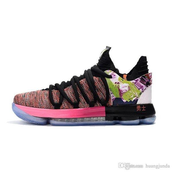 Ucuz Erkek Ne KD 10 X basketbol ayakkabıları yeni Çiçek Teyze inci Mavi Kevin Durant KD10 hava uçuşlar için sneakers tenis kutusu