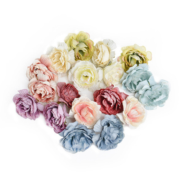 Wholesale 200pcs 5cm artificial silk rose flower head for Wedding Party Home Room Decoration Marriage Shoes Hats Accessories