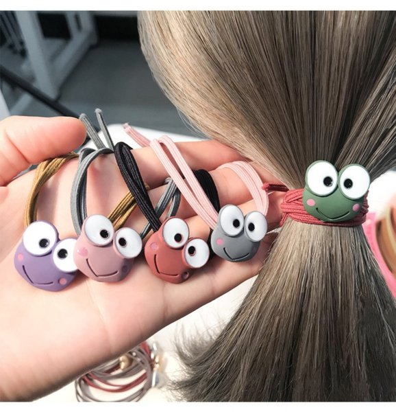 top popular Children's cartoon cute little frog head rubber rope women's hair band ball head ponytail hair rubber band 2021