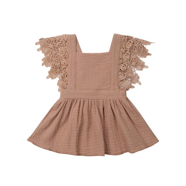 Meninas verão vestido crianças menina vestido de bebê crianças roupas de renda vestido de festa de algodão para 0-3t 2019