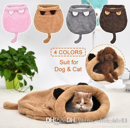 Lovely Cat Bed Cute Cat Sleeping Bag Soft Warm Cat House Pet Mats Puppy Cushion Small Dog Rabbit Bed Funny Pet Products 4 Colors