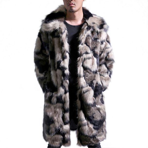 37b0771f Chaqueta larga Hombres Invierno Cálido Abrigo de Piel Para Hombre Mink Turn  Down Collar Masculino Faxu