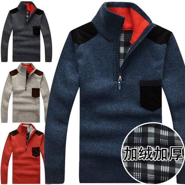 Warm Thick Velvet Cashmere Sweaters Men Winter Pullovers Zipper Mandarin Collar Man Casual Clothes Pattern Knitwear Big Size 3xl winter thic