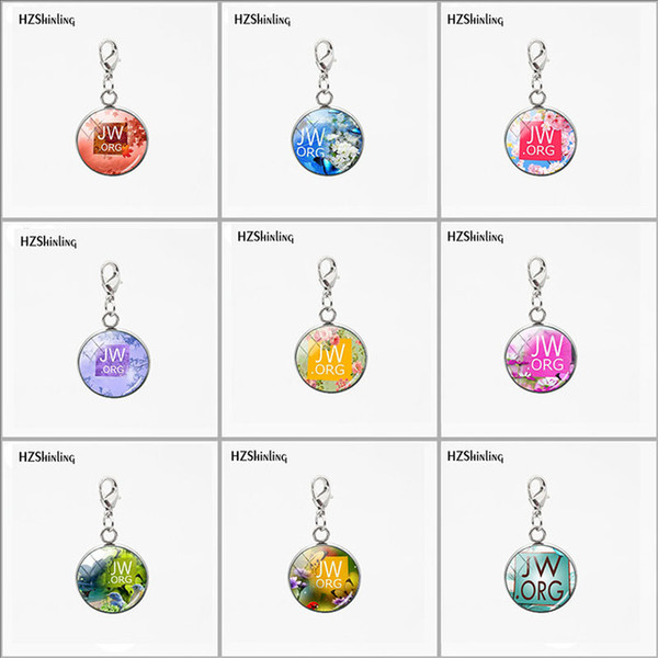 Fashion Stainless Steel JW.ORG Betterfly Flowers Glass Pendants Round Charms Any Occasion Car Necklace Keyring Detachable