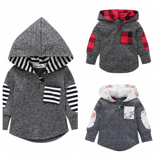 best selling Baby Clothes kids Plaid Sweatshirts Floral Casual Hoodies Jackets striped Coat Long Sleeve Sweatshirt Outwear hooded Pullover LJJA3374-3