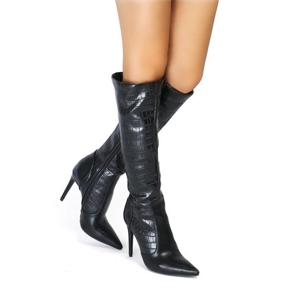 Compre Legzen Moda Mujer Rodilla Botas Altas De Piel Sintética Del Dedo Del Pie Puntiagudo Tacones Altos Zapatos De Nieve Negro Tamaño Grande Zapatos