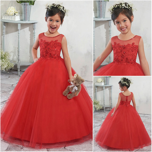 Wholesale Designer Bright Red Flower Girl Ball Gowns Tulle Beaded Scoop Neckline Zipper Back Embroidery Girls Party Dresses MB9003