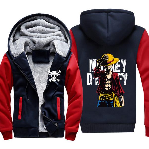 Anime One piece Monkey D Ruffy sweatshirt männer 2019 frühling winter männer jacke mode dicke hoodies mantel männer hip hop Schädel