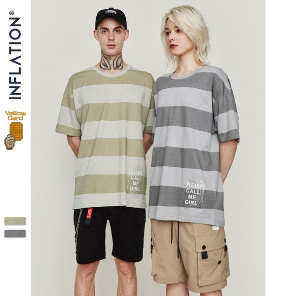 INFLATION Men's Striped T Shirt 2019 SS Collection Cotton Top Tee Hight Street Dress T-shirt Short Sleeve Couple Tee 91202S