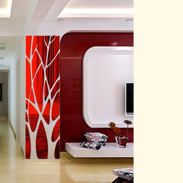 Diy criativo padrões árvore espelho adesivo de parede para sala de jantar sala de estar decoração 3d arte da parede mural decalque