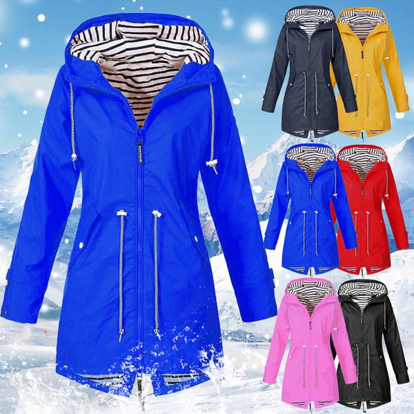 Autumn Zipper Windbreaker Women Hooded Waterproof Jacket Outdoor Sport Hiking Jacket Women Rain Windproof Coat Plus Size