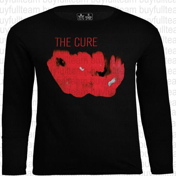 THE CURE Hommes Noir longues manches graphiques Tops Mode col rond T-shirts Taille S M L XL 2XL