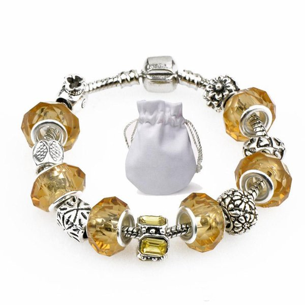 Golden Crystal Beads Charm Bracelets Bangles Fit Pandora Silver Plated Chain Women Fashion Brand Clear Gold Gemstone Alloy Jewelry