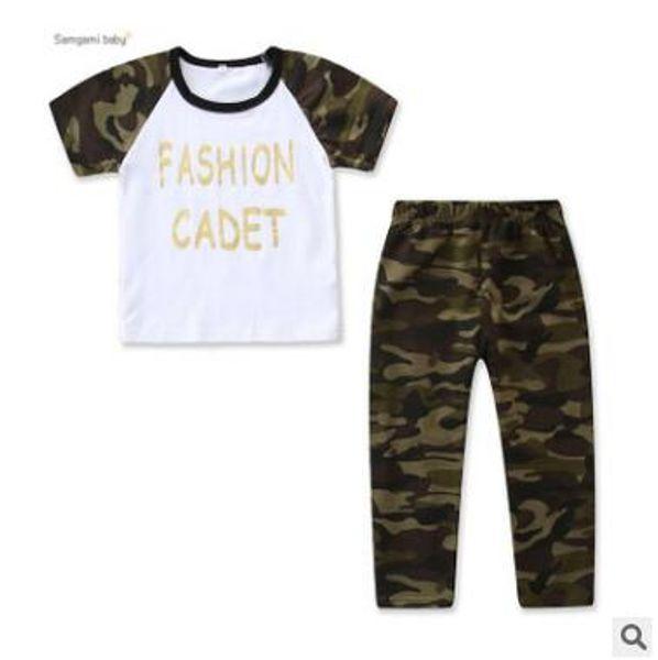 Enfants Designer Vêtements Garçons Camouflage Ensemble De Vêtements 2019 Été À Manches Courtes Coton Lettre T Shirt Tops + Camouflage Pantalon Filles Vêtements Ensemble