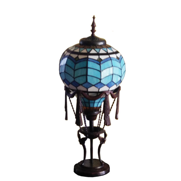 """8"""" Hot Air Balloon tiffany table lamp shade Metal base stained glass Decorative desk lamp Commemorative gifts"""