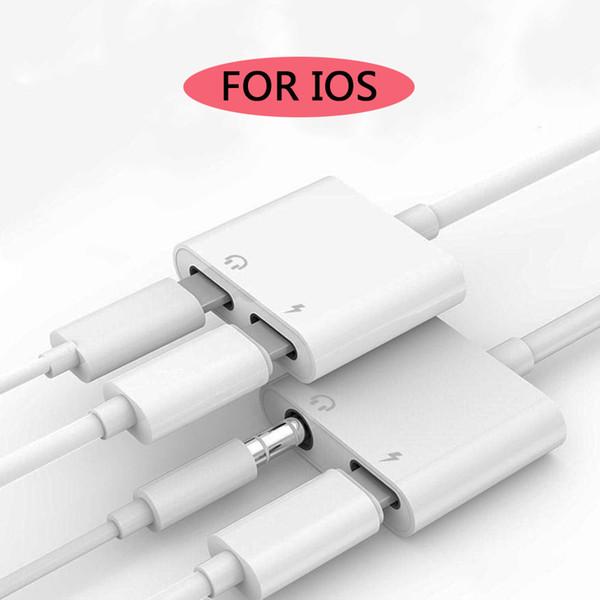 Adaptador de auriculares 2 en 1 para iphone 8 7 plus x adaptador de carga 3.5mm jack iphone auriculares cable de audio adaptadores de carga