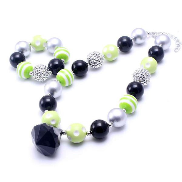 New Halloween Kid Collana robusta Set di braccialetti Argento + Nero Design Bambini Ragazza Bambino Bubblegum Set di gioielli con collana di perle grosse