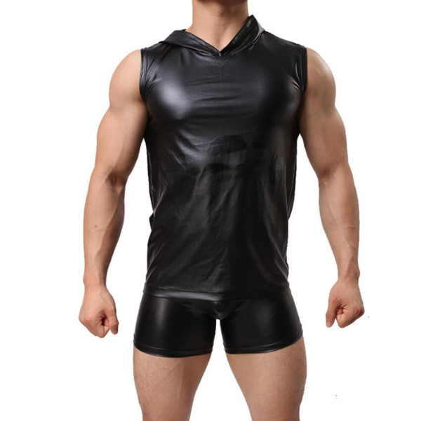 Body Mechanics Clothing Man Sexy Hoodies Exercise Underwear Fitness Two-piece Set PU Leather Tight-fitting Suit Fitness Uniform Kit
