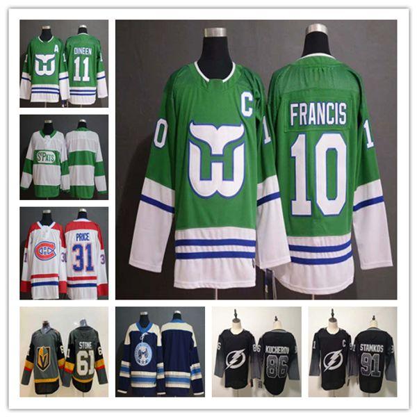 Mens New arrival 31 Carey Price 1 Mike Liut 10 Ron Francis 11 Kevin Dineen 86 Nikita Kucherov 91 Steven Stamkos hockey jersey