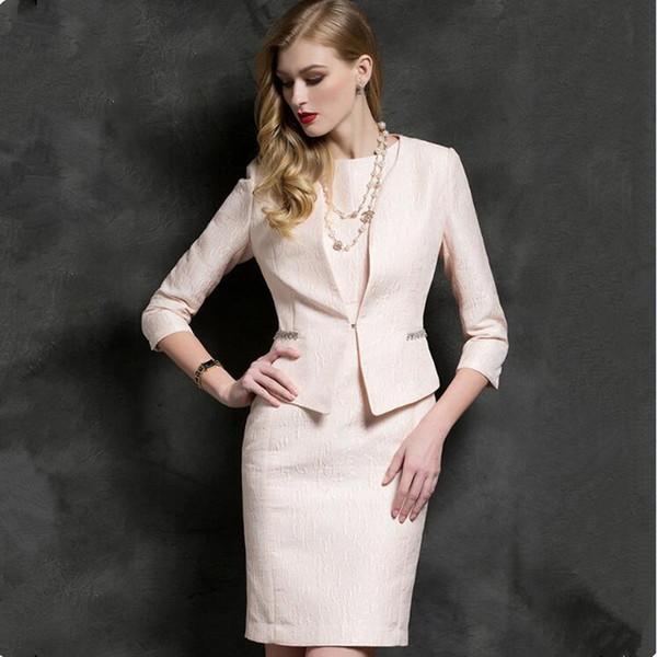 Compre Trajes De Vestir Para Mujer Oficina Mujer De Negocios Ropa De Trabajo Formal Chaqueta Rosa Traje Chaqueta Lápiz Vestido Elegante Uniforme De