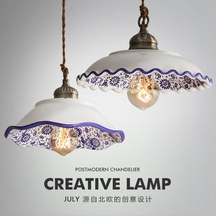 Chinese Style Ceramic Pendant Lights Vintage Led Hanging Lamp Retro Loft Porcelain Hanglamp Kitchen Fixture Home Decor Luminaire