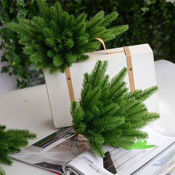 10pcs Tree Branches Artificial Plastic Pine Leaves For Christmas Diy Wedding Party Decoration Flower Arrangement Wreath