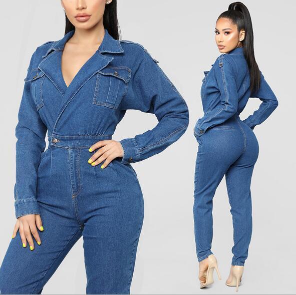 Women Denim Jumpsuits Casual Long Sleeve Jeans Rompers Sexy Deep V Neck Jumpsuit Vintage Denim One Piece Pant Overalls