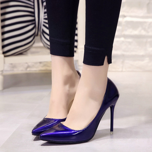 2019 Hot Women Shoes Pointed Toe Pumps Patent Leather Dress High Heels Boat Wedding Zapatos Mujer Blue Wine Red Classics 200