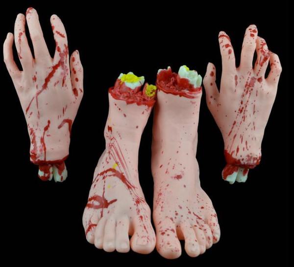 Halloween Horror Requisiten Bloody Hand Haunted House Party Dekoration Scary Gefälschte Hand Finger Bein Fuß Gehirn Herz Halloween Supplies GB890