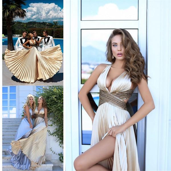 Moderno Sexy 2019 Split noche vestidos de baile de oro una línea de cuello en V profundo lados cortados fiesta larga vestidos de fiesta 2169