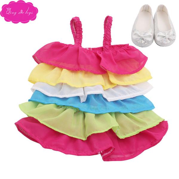 18 pouces filles robe de poupée belle robe de dentelle de princesse avec des chaussures jupe nouveau-né américain jouets de bébé fit 43 cm poupées bébé c359