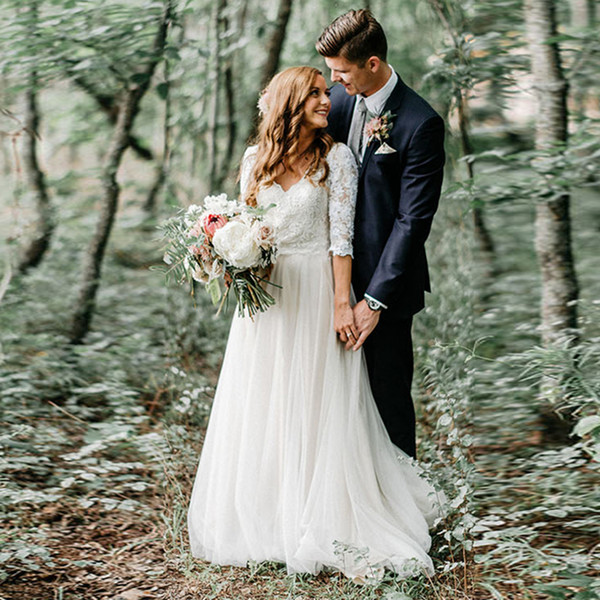 Lightweight Boho Wedding Dresses V Neck Lace Top Half Sleeves Tulle Skirt Backless Simple Princess Bride Dress Custom Made Wedding Gown 2019