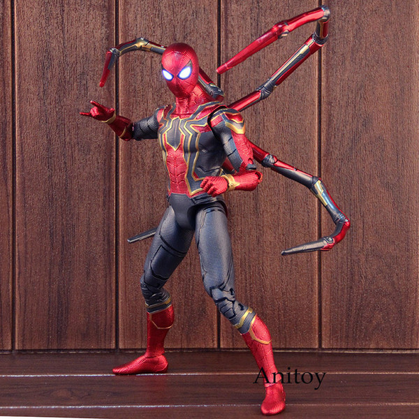 Marvel Avengers 3 Infinity War Spiderman Iron Spider Man Figure Action PVC Collectible Model Toy Big Size with Lighted Eyes SH190915